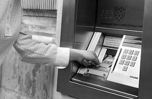 World's first ATM at Charring Cross in London, 1968.